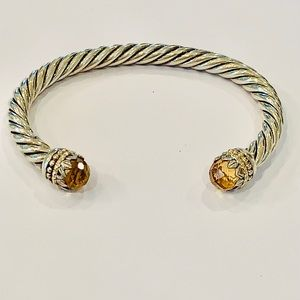 Sterling silver Amber stone cable cuff bracelet